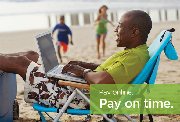 Pay online. Pay on time. Learn more >